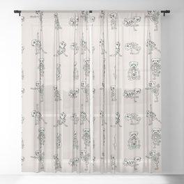 Skeleton Pug Yoga Sheer Curtain