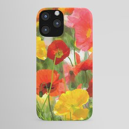 Cute poppies summer meadow watercolor painting iPhone Case