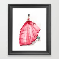 Red Couture Gown Watercolor Fashion Illustration Framed Art Print