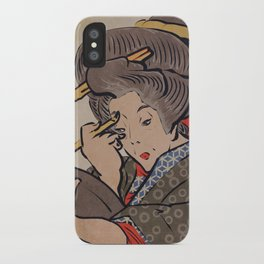 Japanese Prints Inspired Painting of a Woman - The Mirror iPhone Case