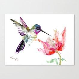 Little Hummingbird and Pink Flower, Bird art, minimalist bird painting, soft pink olive green design Canvas Print