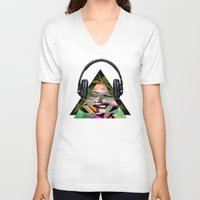 rowing V-neck T-shirts featuring Marilyn by mark ashkenazi