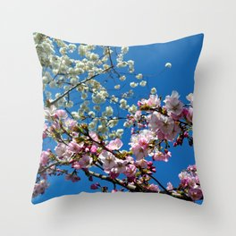 Pink and White Cherry Blossoms Throw Pillow