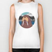walrus Biker Tanks featuring Walrus by Diana Hope