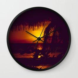 Kamaole Tropical Nights Sunset Gold Purple Palm Wall Clock