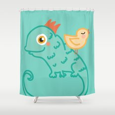Bird & Chameleon Shower Curtain