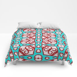 Turquoise and Crimson Red Oil Painted Neo Tribal Comforters