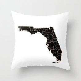 Florida map, USA Throw Pillow