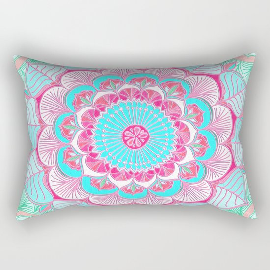 Tropical Bloom - floral doodle in pink, mint, peach, aqua, white Rectangular Pillow
