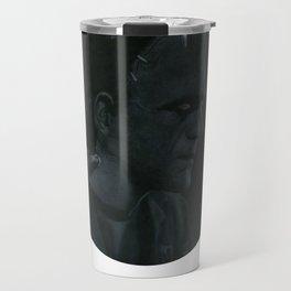 Frankenstein's monster on vinyl record print Travel Mug