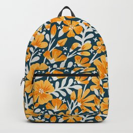 Blossom Pattern – Ochre & Teal Backpack