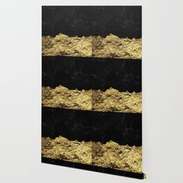 Rough Gold Torn and Black Marble Wallpaper