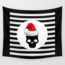 merry christmas santa skull Wall Tapestry