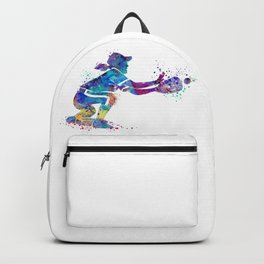 Girl Baseball Player Softball Catcher Colorful Watercolor Sports Artwork Backpack