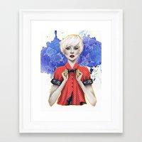 sasha grey Framed Art Prints featuring Sasha by Laura Tanuwidjaya
