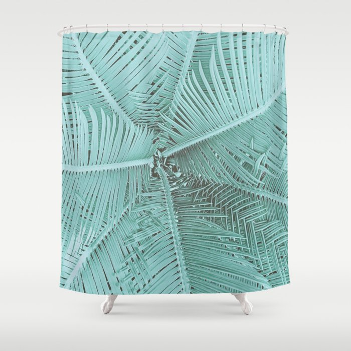 Turquoise Teal Palm Leaves Shower Curtain