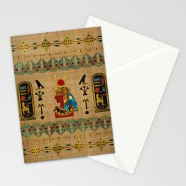 Hathor Egyptian Ornament on papyrus Stationery Cards