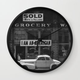 I Am An American By Dorothea Lange Wall Clock