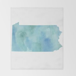 Watercolor State Map - Pennsylvania PA blue greens Throw Blanket