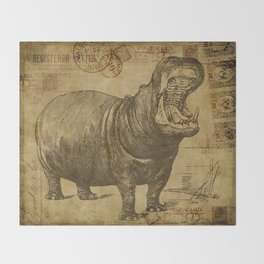 Vintage retro Hippo wildlife animal africa Throw Blanket