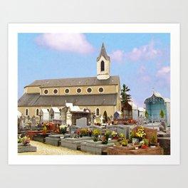 Church and cemetery of Jurançon Art Print