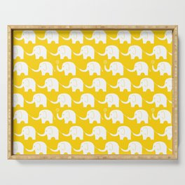 Elephant Parade on Yellow Serving Tray