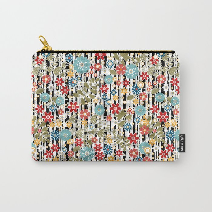 Floral pattern on striped background Carry-All Pouch