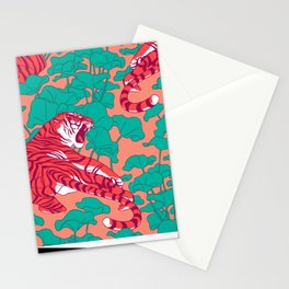 Scarlet tigers on lotus flower field. Stationery Cards