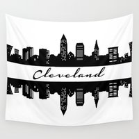 cleveland Wall Tapestries featuring Cleveland Skyline by Madison Asher