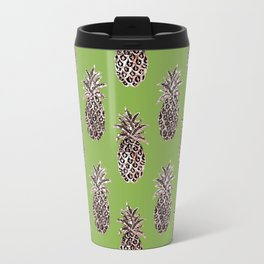 Greenery inspo + gold pineapples Travel Mug