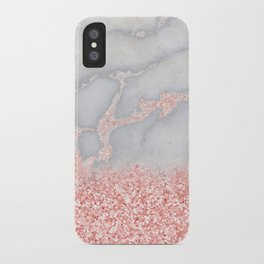 Sparkly Pink Rose Gold Ombre Bohemian Marble iPhone Case