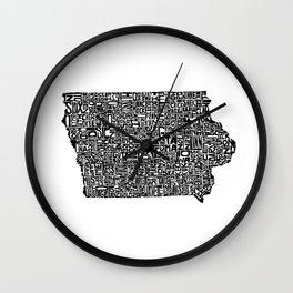Typographic Iowa Wall Clock