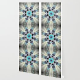 Aqua Peacock Inspired Mandala Wallpaper