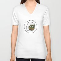 meme V-neck T-shirts featuring MEME LORD by tRUSTY_Bot