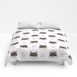 Chibi Shiba's black & tan Comforters