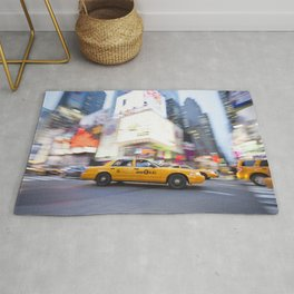 Yellow taxi cab in times square Rug