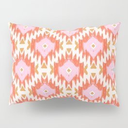 Orange Boho Ikat Pattern Pillow Sham