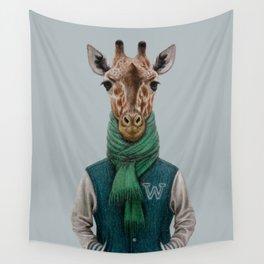 the giraffe in jacket. Wall Tapestry