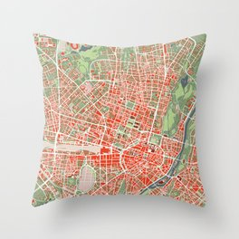 Munich city map classic Throw Pillow