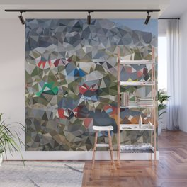 Greenland Village Low Poly Geometric Triangles Mathematical Art Wall Mural