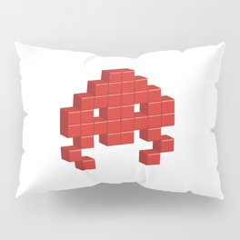 3D Space Invader Pixel Monster Red Pillow Sham