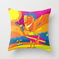 surfer Throw Pillows featuring Surfer by Roberlan Borges
