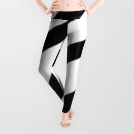 Soft Diagonal Black and White Stripes Leggings