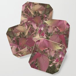 Red Shiso Warm Tones Pattern Coaster
