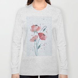 Red poppies in the sun floral watercolor painting Long Sleeve T-shirt