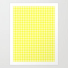 Cream Yellow and Electric Yellow Diamonds Art Print