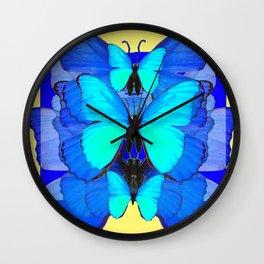 DECORATIVE BLUE SATIN BUTTERFLIES YELLOW PATTERN ART Wall Clock