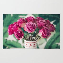 Purple Roses Against Banana Palms Rug