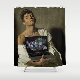 Caravaggio - Fanciullo con canestro di frutta Shower Curtain