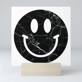 Black Marble Smily Face Mini Art Print